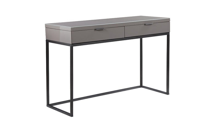 Lustro Console Table High Gloss Gunmetal Clear Glass Top With Storage - kudo Lounge