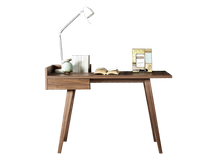 Load image into Gallery viewer, Ophelia wooden Desk with Smooth Walnut Finish Angled Legs - kudo Lounge