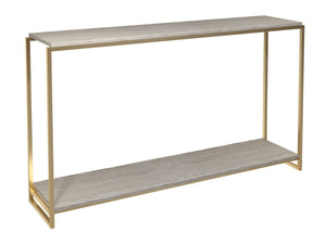 Gilmore FEDERICO Narrow Console Table Black Stained oak veneer top brushed brass finish frame - kudo Lounge