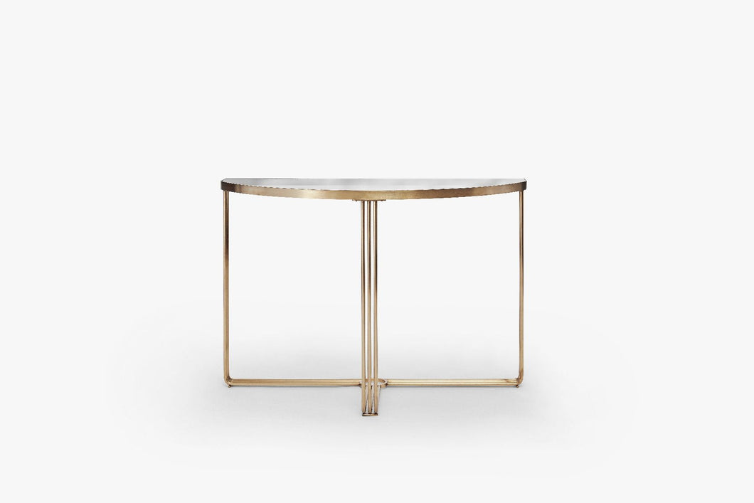 Gillmore Finn Demi Lune Console Table Black Glass Top & Brass Frame - kudo Lounge