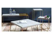 Load image into Gallery viewer, Gillmore Iris Square Tray Top Metal Frame Side Table