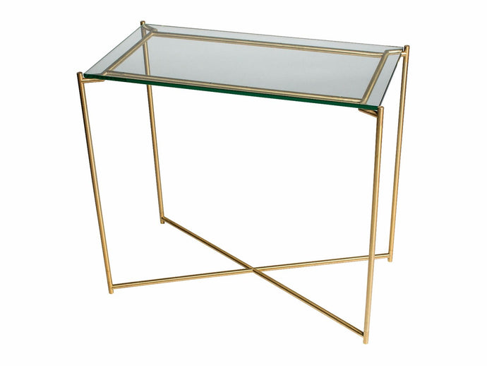 Gillmore IRIS Small Console Table Clear Glass Top & Brass Frame - kudo Lounge