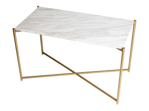 Gillmore Iris Rectangular Marble Top Brass Frame Side Table