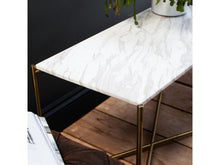 Load image into Gallery viewer, Gillmore Iris Rectangular Marble Top Brass Frame Side Table