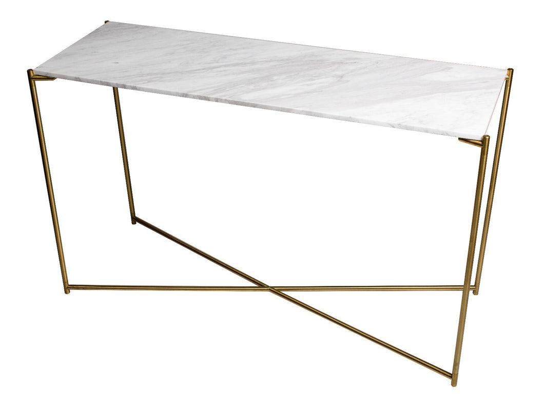 Gillmore IRIS Large Console Table Black Marquina Marble Top Satin Brass Base - kudo Lounge