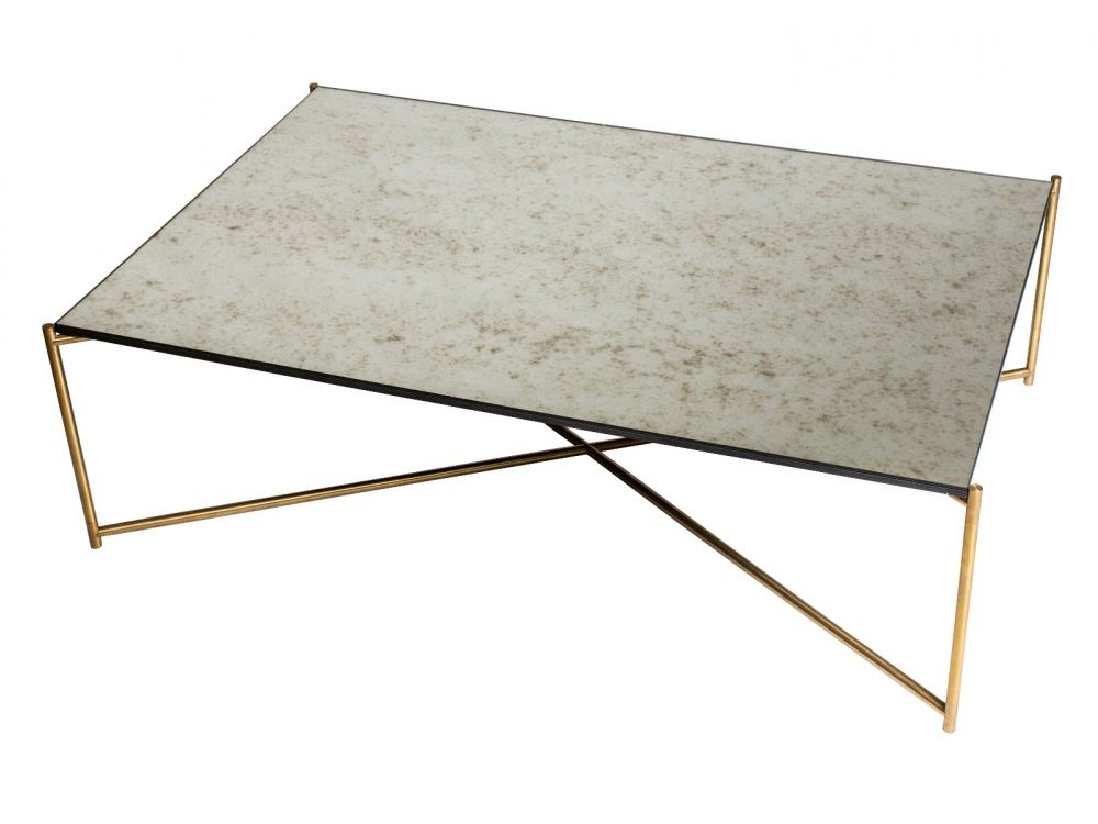 Gillmore Iris Rectangular Antiqued Glass Top Brass Frame Coffee Table