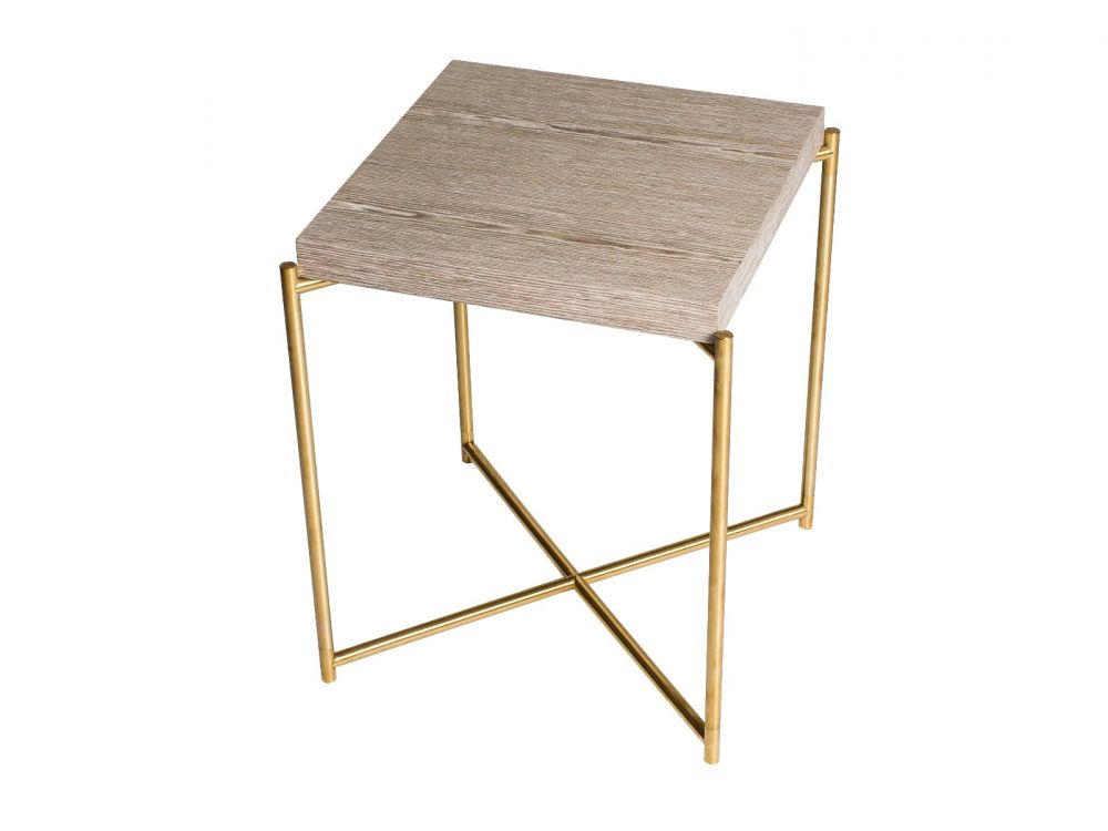 Gillmore Iris Square Oak Top Brass Frame Side Table