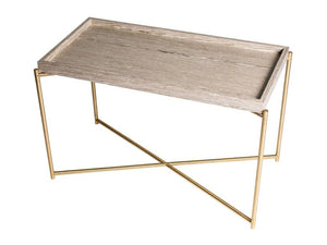 Gillmore Iris Rectangular Oak Tray Brass Frame Side Table