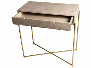 Gillmore IRIS Small Console Table Weathered Oak Twin draw Brass Frame - kudo Lounge