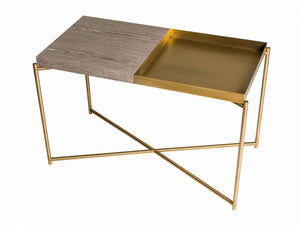 Gillmore Iris Rectangular Top & Tray Brass Frame Side Table