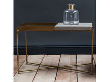 Load image into Gallery viewer, Gillmore Iris Rectangular Top & Tray Brass Frame Side Table