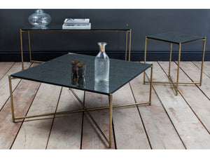 Gillmore Iris Square Marble Top Brass Frame Coffee Table