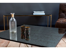 Load image into Gallery viewer, Gillmore Iris Rectangular Antiqued Glass Top Brass Frame Coffee Table