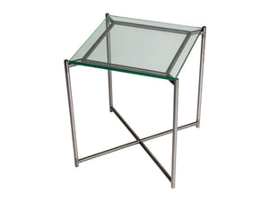 Gillmore Iris Square Clear Glass Top Metal Frame Side Table