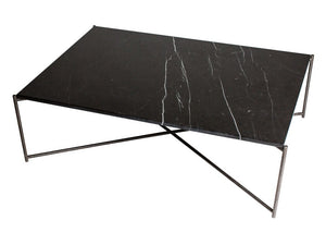 Gillmore Iris Rectangular Marble Top Metal Frame Coffee Table