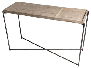 Gillmore IRIS Large Console Table Gun Metal Frame weathered oak tray - kudo Lounge