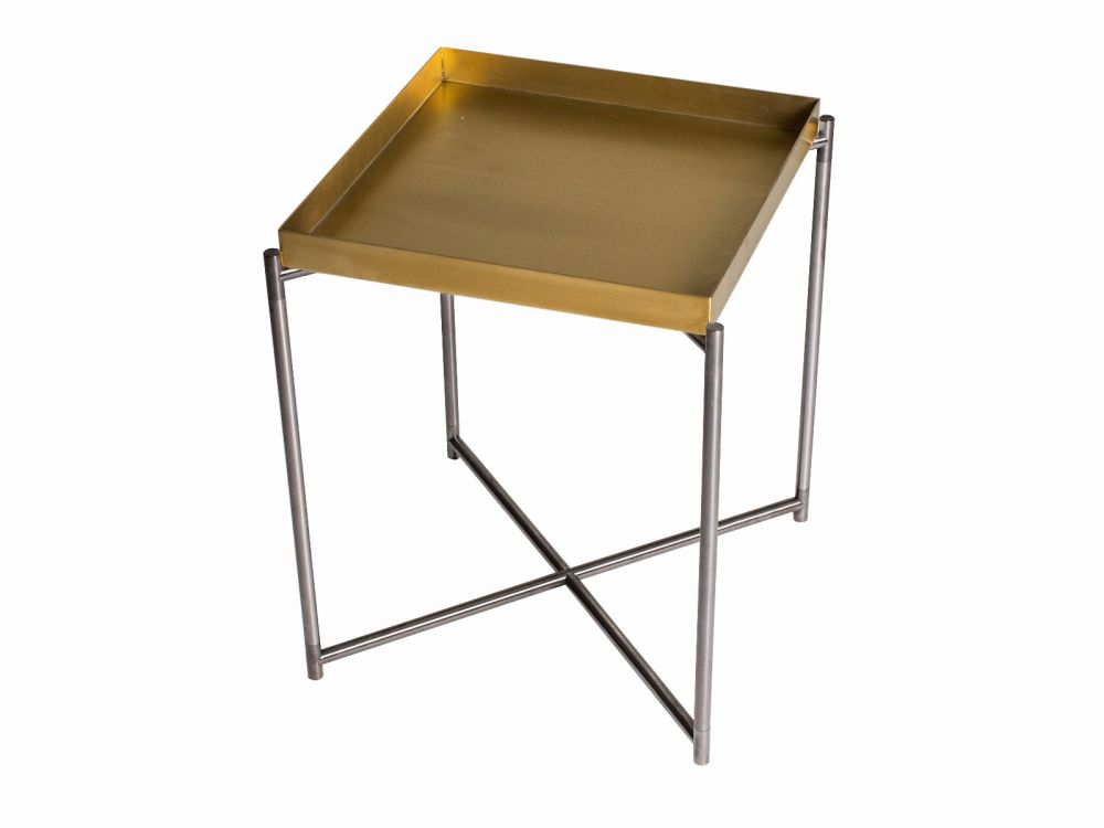 Gillmore Iris Square Tray Top Metal Frame Side Table