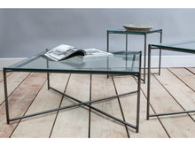 Load image into Gallery viewer, Gillmore Iris Square Clear Glass Top Metal Frame Side Table