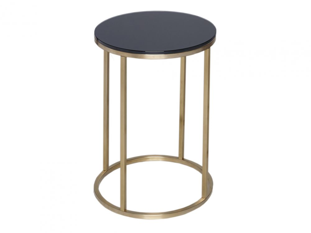 Gillmore Kensal Circular Glass Top Brass Frame Side Table