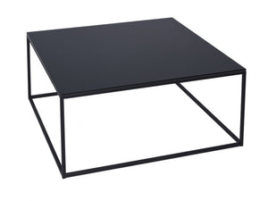 Gillmore Kensal Square Glass Top Black Frame Coffee Table