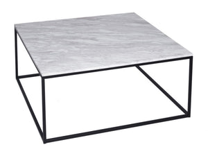 Gillmore Kensal Square Marble Top Black Frame Coffee Table
