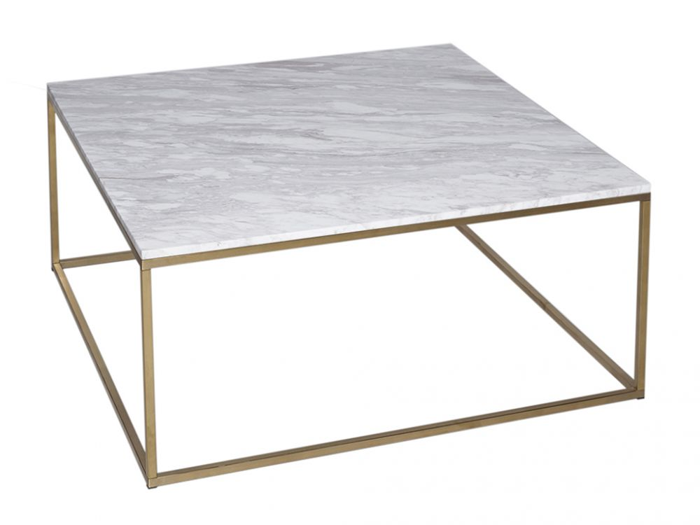 Gillmore Kensal Square Marble Top Brass Frame Coffee Table