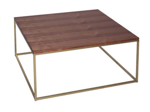Gillmore Kensal Square Walnut Top Brass Frame Coffee Table
