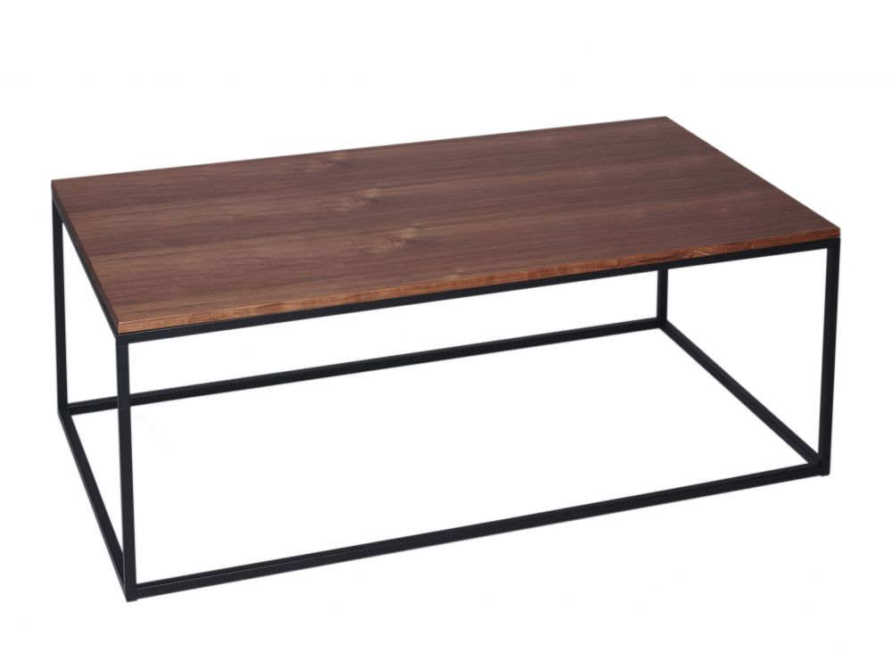 Gillmore Kensal Rectangular Walnut Top Black Frame Coffee Table