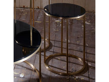 Load image into Gallery viewer, Gillmore Kensal Circular Glass Top Brass Frame Side Table