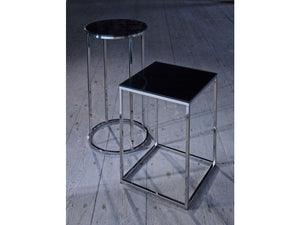 Gillmore Kensal Circular Glass Top Polished Frame Side Table