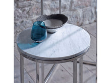 Load image into Gallery viewer, Gillmore Kensal Circular Marble Top Polished Frame Side Table
