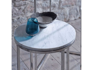 Gillmore Kensal Circular Marble Top Polished Frame Side Table