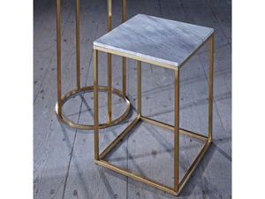 Gillmore Kensal Square Marble Top Brass Frame Side Table