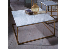 Load image into Gallery viewer, Gillmore Kensal Square Marble Top Brass Frame Coffee Table