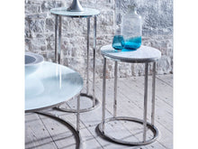 Load image into Gallery viewer, Gillmore Kensal Circular Glass Top Polished Frame Side Table