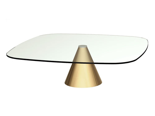 Gillmore OSCAR LARGE Square Coffee Table clear Glass Top Brass Base - kudo Lounge