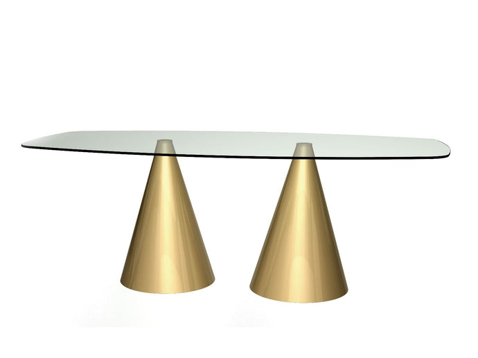 Gillmore OSCAR LARGE rectangular Dning Table Clear Glass Top Twin Brass conical - kudo Lounge
