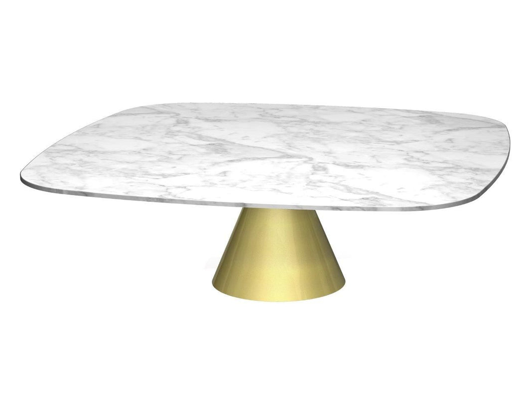 Gillmore OSCAR Large Square Coffee Table White Marble Top Brass Base - kudo Lounge