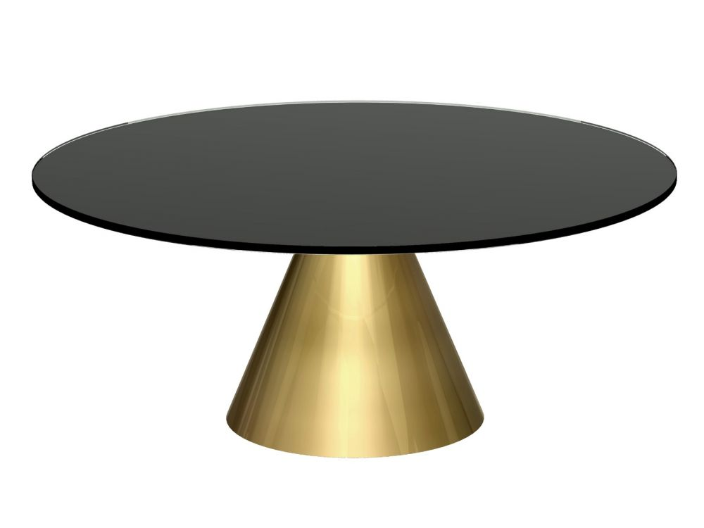 Gillmore Oscar Small Circular Glass Top Brass Frame Coffee Table