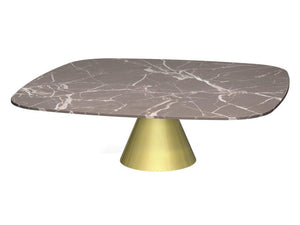 Gillmore Oscar Large Square Marble Top Brass Frame Coffee Table