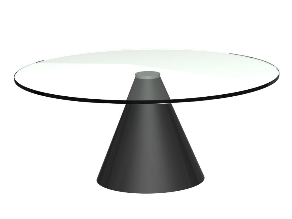 Gillmore Oscar Small Circular Glass Top Black Frame Coffee Table