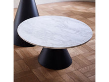 Load image into Gallery viewer, Gillmore Oscar Small Circular Marble Top Black Frame Coffee Table