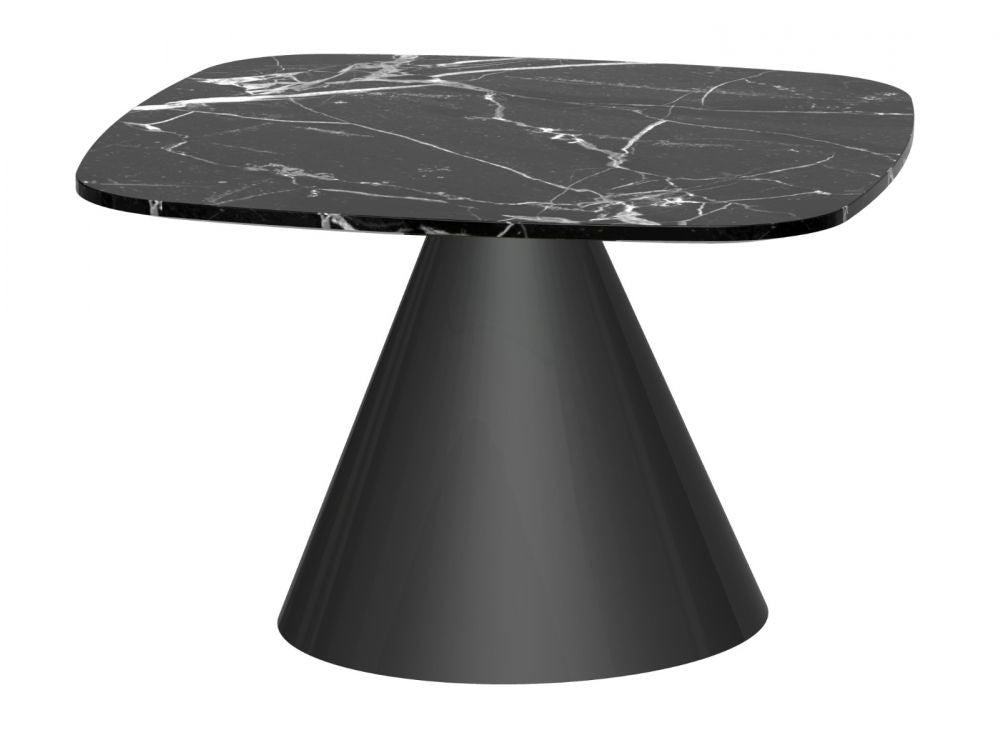 Gillmore Oscar Square Marble Top Black Frame Side Table