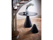 Load image into Gallery viewer, Gillmore Oscar Circular Glass Top Black Frame Side Table