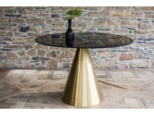 Load image into Gallery viewer, Gillmore Oscar Small Circular Glass Top Brass Frame Coffee Table