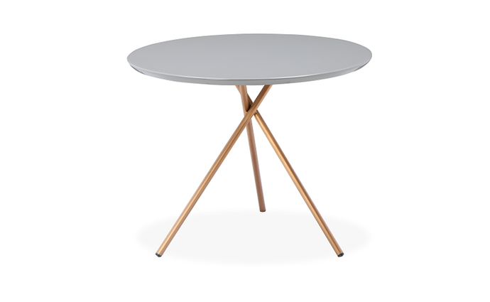 Disco Side Table With Copper Legs High Gloss Grey Finish - kudo Lounge