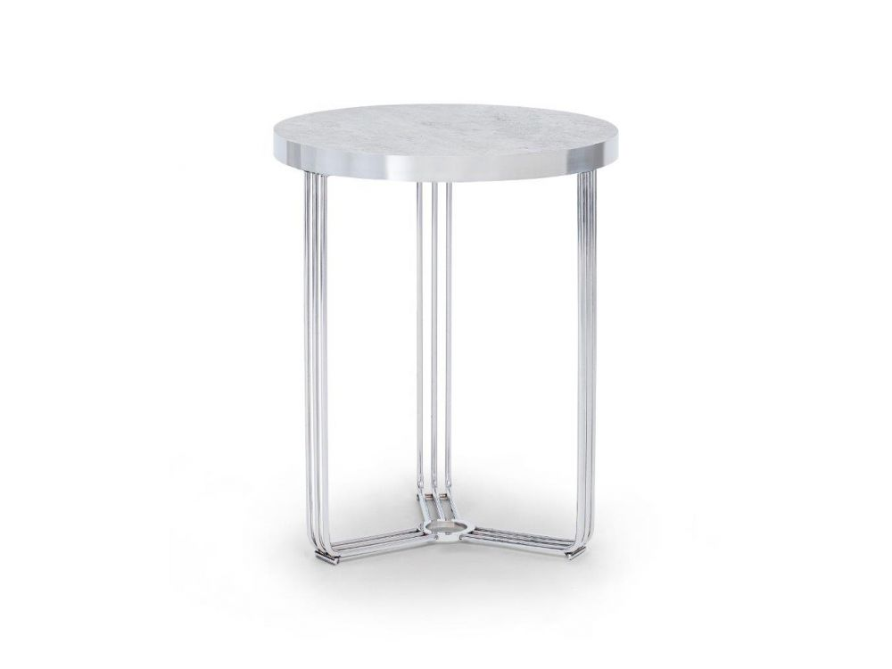 Gillmore Finn Circular Stone Top Chrome Frame Side Table
