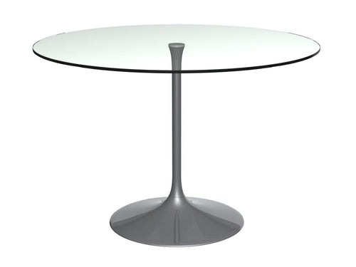 Gillmore SWAN LARGE Round Dining Table Clear Glass Top Black Chrome Base - kudo Lounge
