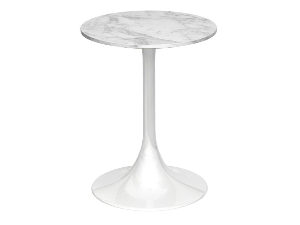 Gillmore Swan Circular Marble Top White Column Side Table