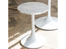 Load image into Gallery viewer, Gillmore Swan Circular Marble Top White Column Side Table